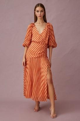 Keepsake CUPID LONG SLEEVE MIDI DRESS Coral Stripe