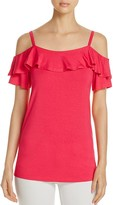 Design History Cold Shoulder Ruffle Top