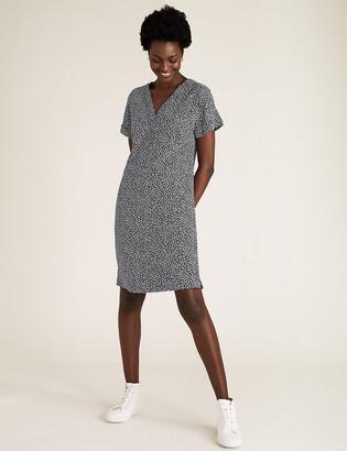 Marks and Spencer Linen Leaf Print Mini Shift Dress
