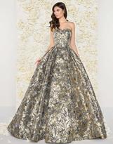 Mac Duggal Couture - 66222D Floral Print Metallic Ballgown