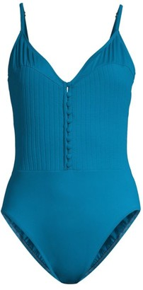 Gottex Swim Rib-Knit Bodice V-Neck One-Piece Swimsuit
