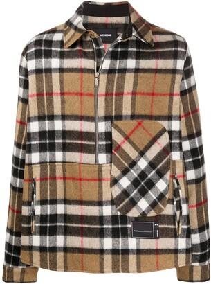 we11done Checked Half-Zip Wool Shirt
