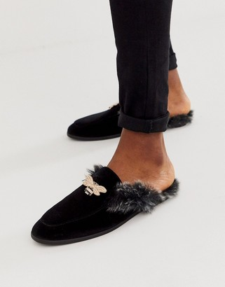 Asos Design DESIGN backless mule loafer in black velvet with faux fur insock and hardware detail
