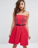 Little Mistress Bandeau Skater Dress With Embellished Detail