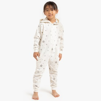 La Redoute Collections Long-Sleeved Hooded Onesie with Star Print, 2-12 Years