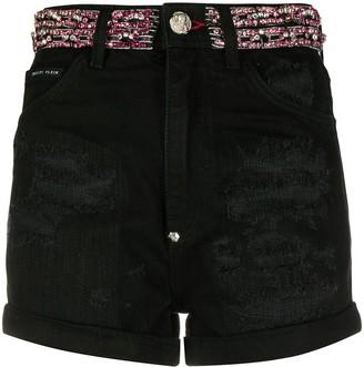 Philipp Plein Crystal Embellished Denim Shorts