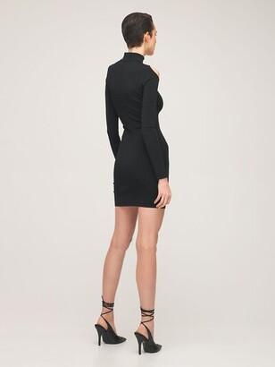 Thierry Mugler Fitted Viscose Blend Knit Dress