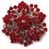 Avalaya Victorian Corsage Flower Brooch (Silver&Bright Red)