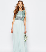 TFNC WEDDING Sequin Maxi Dress with Open Back