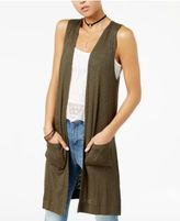 Planet Gold Ribbed Open-Front Vest