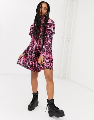 Asos DESIGN pleated mini dress in graffiti print