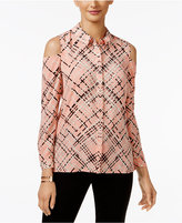 Alfani Printed Cold-Shoulder Blouse, Only at Macy's