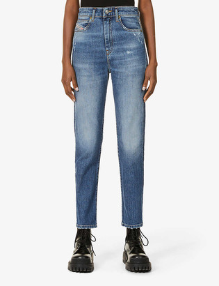 Diesel Eiselle tapered high-rise stretch-denim jeans