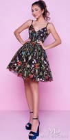 Mac Duggal V-shape Floral Embroidered Fit and Flare Homecoming Dress