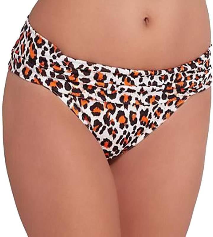 Freya Sabor Gathered Fold-Over Bikini Bottom, M, Animal