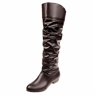 Overdose Women's Clothing Women's Slip-On Winter Knee High Boots High Tube Low Heel Riding Boots Ladies Shoes Combat Boots Brown
