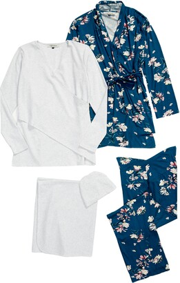 Angel Maternity Maternity/Nursing Robe, Top, Pants, Baby Wrap & Cap Set