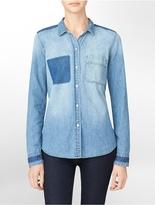 Calvin Klein Jeans Detailed Long Sleeve Denim Shirt