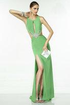 Alyce Paris - Sleeveless Sparkling Jewel Neck Cutout Long Jersey Dress With Side Slit 35761