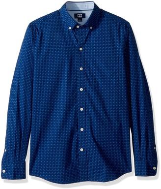 Cutter & Buck Men's Rowan Dot Print Spread Collar Long Sleeve Dress Shirt