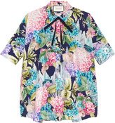 Gucci Hydrangea print silk cape shirt - women - Silk - 40