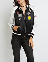 Charlotte Russe Patched Satin Bomber Jacket
