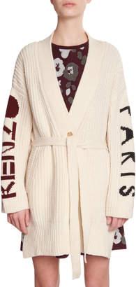 Kenzo Tie-Waist Wool Logo Cardigan