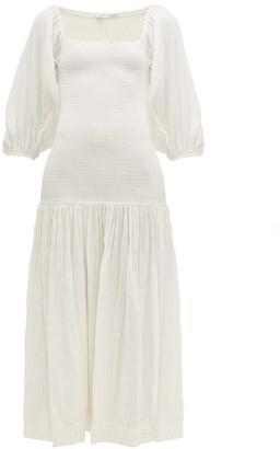 Rhode Resort Harper Shirred Cotton-gauze Dress - Womens - White
