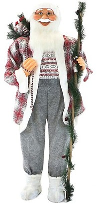 Fraser Hill Farms 5-Ft. Tweed Jacket White Faux Fur-Trim Holding A Staff Standing Santa Claus