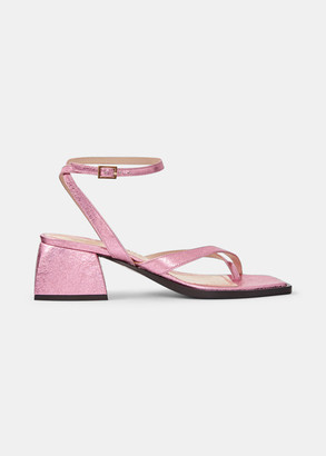 Nodaleto 45mm Bulla Arushi Metallic Block-Heel Sandals