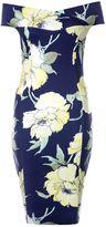 Quiz Navy And Yellow Floral Print Bardot Midi Dress