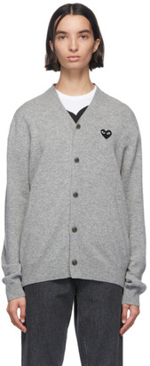Comme des Garcons Grey and Black Wool Mens Fit Heart Patch V-Neck Cardigan