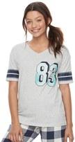 SO Juniors' SO® Pajamas: Naptime Squad Football Graphic Tee