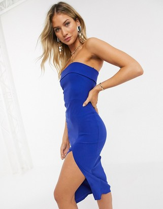Vesper bandeu midi dress in cobalt