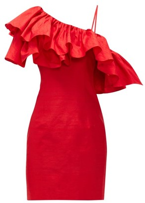 Rasario Ruffled One-shoulder Silk-shantung Mini Dress - Red