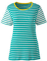 Lands' End Women's Tall Shaped Cotton Crewneck T-shirt-Deep Sea/Ivory Stripe