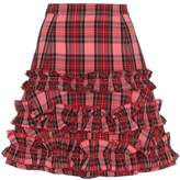 Molly Goddard tartan ruffle A-line skirt