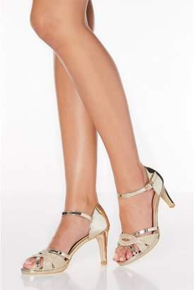 Quiz Gold Shimmer Twist Strap Heeled Sandals