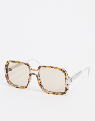 Spitfire Rising With The Sun oversized sunglasses in camel tort and clear frame