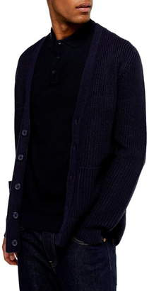 Topman Rack Textured Cardigan Sweater