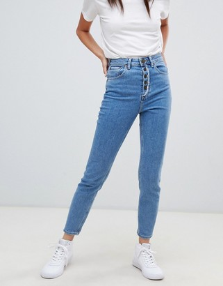 Asos Design DESIGN Farleigh high waisted slim mom jeans in aged light stonewash blue with exposed fly detail