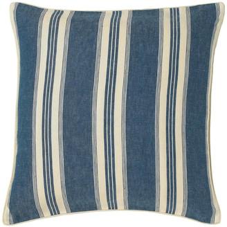 OKA Pennant Stripe Linen Cushion Cover, Large - Blue
