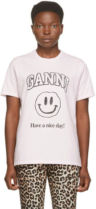 Ganni Pink Smiley T-Shirt
