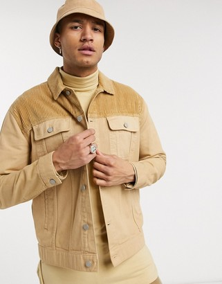 ASOS DESIGN denim jacket in tan with cord panel