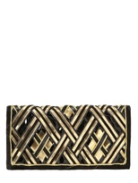 Balmain Gold Embroidered Leather & Suede Clutch