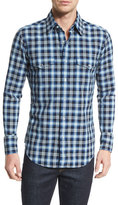 Tom Ford Western-Style Bicolor Check Sport Shirt, Indigo