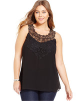 City Chic Plus Size Lace-Yoke Blouse