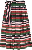 Hallhuber Striped midi skirt with belt