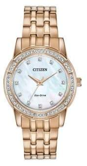 Citizen Silhouette Crystal Rose Goldtone Stainless Steel Bracelet Watch