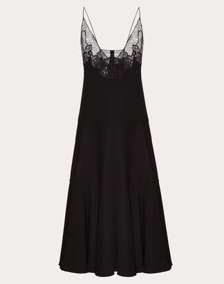 Valentino Cady Couture Dress With Lace Women Black Silk 100% 40